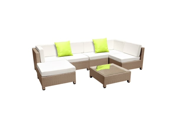 Rattan lounge set  7 Piece Wicker Rattan 6 Seater Outdoor Lounge Set (Brown/Beige ...