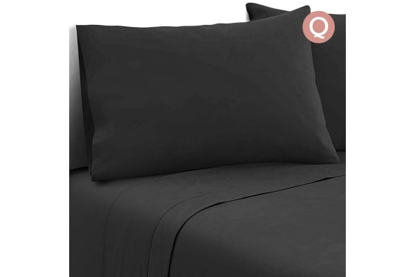 4 Piece Microfibre Sheet Set (Queen/Black)