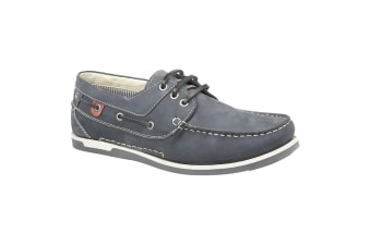 Roamers Mens Leather 3 Eyelet Boat Shoes (Navy)