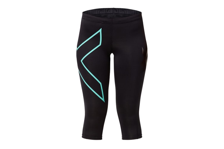 2XU Women's 3/4 Compression Tights G1 (Black/Ice Green, Size S)