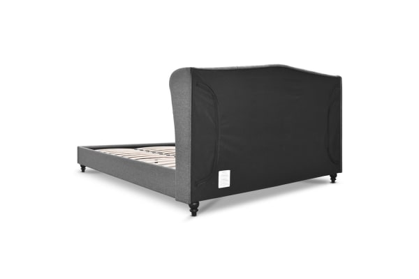 Double Fabric Bed Frame with Headboard (Grey)