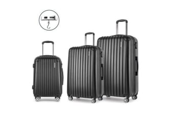 3 Piece Lightweight Hard Suit Case (Black/Striped)