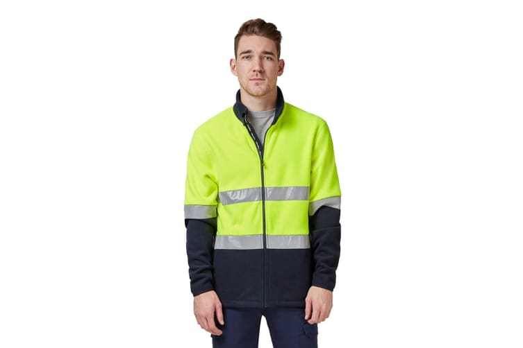 King Gee Reflective Full Zip Spliced Hi Vis Fleece (Yellow/Navy, Size M)