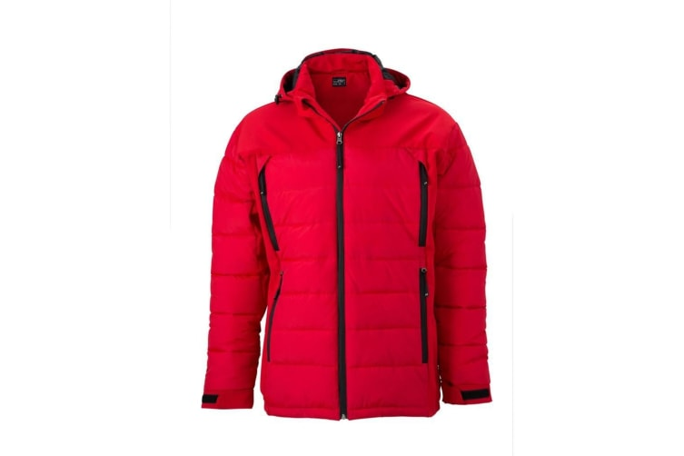 James and Nicholson Mens Outdoor Hybrid Jacket (Red) (XXL)