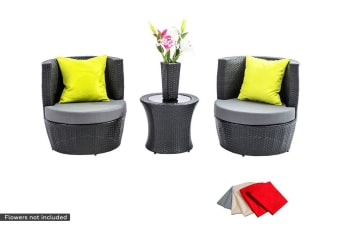 Stackable 2 Seater Wicker Rattan Outdoor Patio Set (Black/Grey)