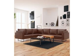 vidaXL Corner Sofa Artificial Leather Brown