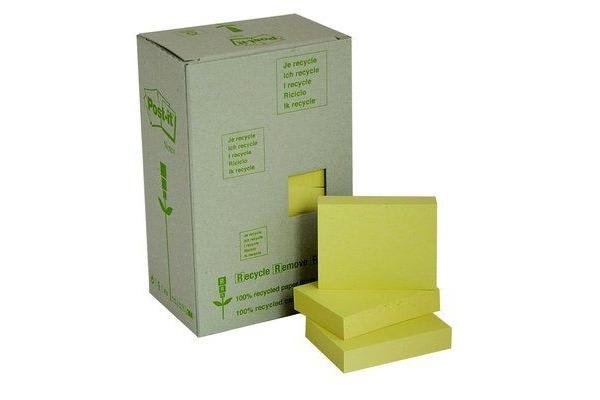 3M Post-It Notes 653-RY Yellow 47.6X34.9mm Recycled Tower Pkt/24