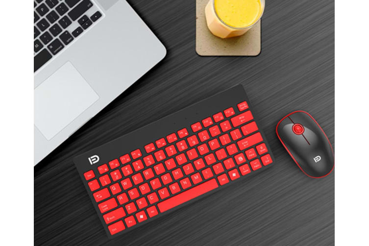 Wireless Keyboard And Mouse Set Laptop Mini-Usb Mouse Keyboard - Black Red Black