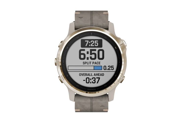 Garmin Fenix 6S Sapphire Pro (Light Gold with Gray Leather Band)