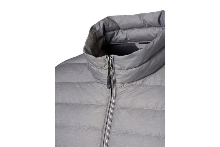 James and Nicholson Mens Light Down Jacket (Silver Melange/Graphite) (XL)