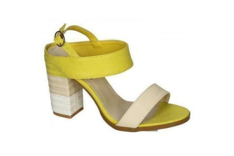 Spot On Womens/Ladies Stitched Buckle Ankle High Heels (Yellow) (4 UK)