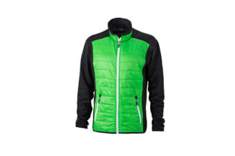 James and Nicholson Mens Hybrid Jacket (Black/Green/White) (L)