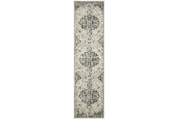 Hazel Charcoal & Grey Durable Medallion Runner Rug 500x80cm