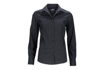 James and Nicholson Womens/Ladies Longsleeve Business Shirt (Black)