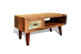 vidaXL Coffee Table with Curved Edge 1 Drawer Reclaimed Wood