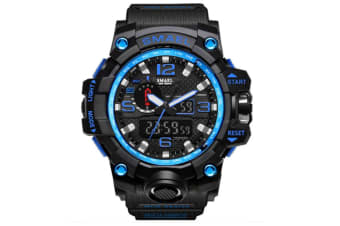 Men'S Large Dual Dial Analog Digital Quartz Multifunction Electronic Sport Watch Blackblue