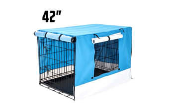 Foldable Metal Wire Dog Cage w/ Cover - BLUE 42""