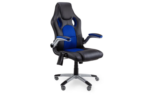 Overdrive 8 Point Massage Racing Office Computer Chair - Faux Leather Ergonomic Blue
