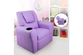 Artiss Luxury Kids Recliner Sofa Children Lounge Chair PU Couch Armchair Purple