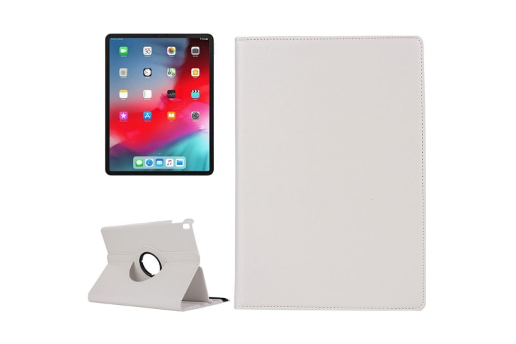 For iPad Pro 11 Inch (2018) Case Lychee Texture PU Leather Folio Cover White