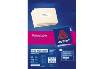 AVERY INKJET LABELJ8157-50 50 SHEETS 64X24.3MM