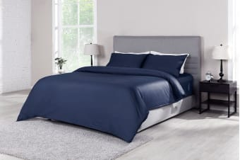 Ovela 1000TC 100% Egyptian Cotton Quilt Cover Set (Indigo)