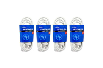 4PK The Brute Power Co 3m Extension Lead/Cord Cable AU/NZ 24000W 240V Plug White
