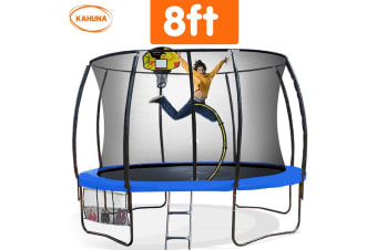 Trampoline 8 ft Kahuna with Basketball set - Blue