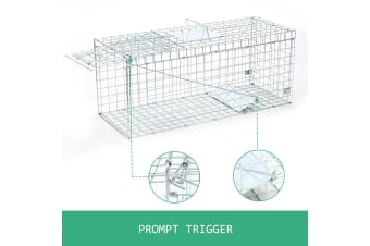 XL Humane Pedal Capture Steel Animal Trap Cage With Protective Handle