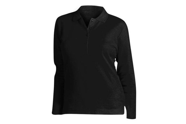 SOLS Womens/Ladies Podium Long Sleeve Pique Cotton Polo Shirt (Black) (XL)