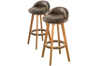 2 x Swivel Bar Stools Industrial Faux Suede Padded