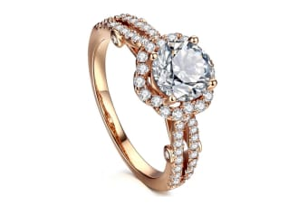 Cubic Zirconia Ring 14K Rose Gold Plated Halo Engagement Wedding Rings 8