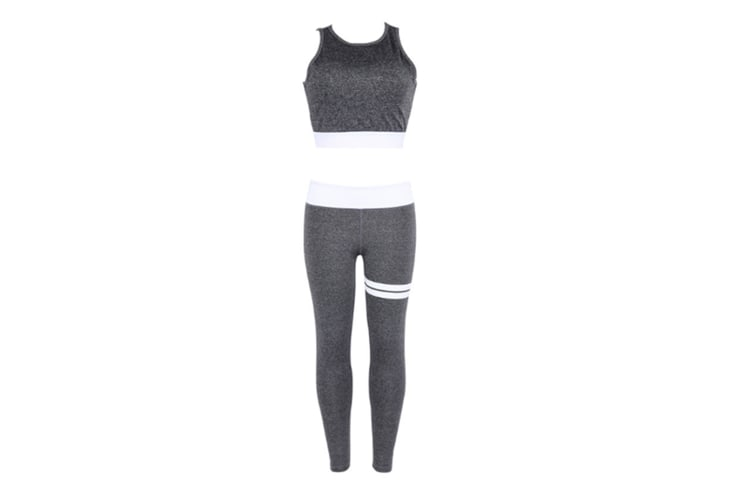 Women 2 Piece Yoga Suit Crop Top Pants Leggings Set Activewear Gym Running Outfit Sports Wear Grey M