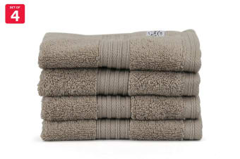 Onkaparinga Ultimate 100% Turkish Cotton Face Washer Set of 4 (Mocha)