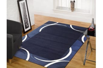 Crescent Border Pattern Rug Navy Blue