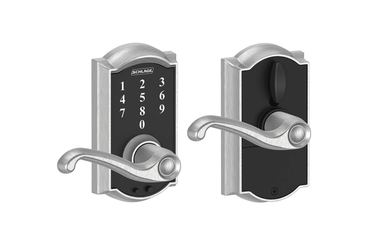 Schlage Touch Keyless Touchscreen Lever with Camelot Trim and Flair Lever (Satin Chrome)