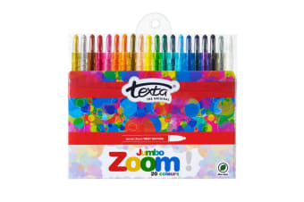 20pc Texta The Original Jmbo Zoom Kids Non Toxic Twist Colouring Crayons Wallet