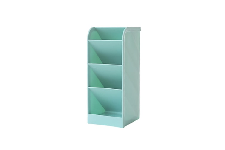 Inclined Penholder Desktop Stationery Shelf Cosmetic Brush Receiving Box - Blue Blue L