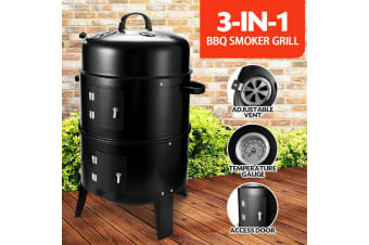 SAN HIMA 3 in 1 Portable Charcoal Vertical Smoker BBQ Roaster Grill Steel Steamer Outdoor