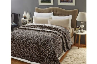 Mink Blanket Faux Soft Throw Warm Plush Bed Sofa Lounge Machine Washable 750GSM - Leopard