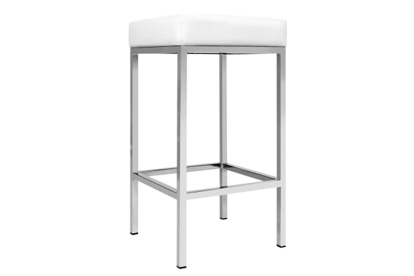 Set of 2 PU Leather Square Kitchen Bar Stool (White)
