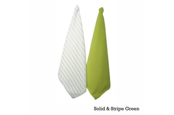 Set of 2 Solid and Stripe Microfiber Tea Towels Green by IDC Homewares