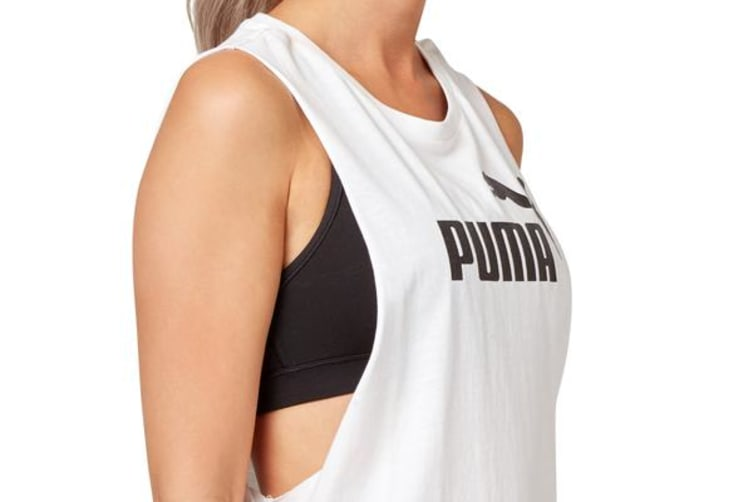 Puma Women's Cut Off Boyfriend Tank (White, Size S)