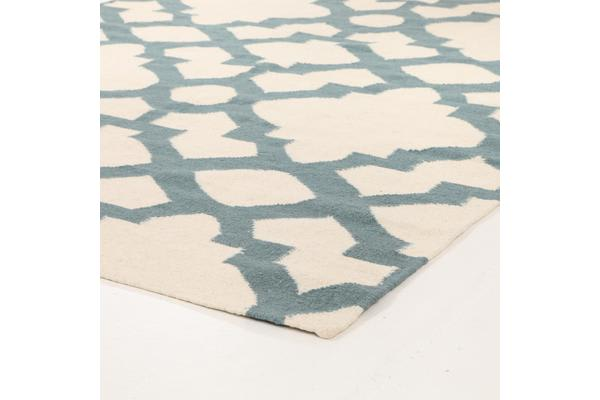 Flat Weave Trellis Design Light Blue White Rug 300x80cm