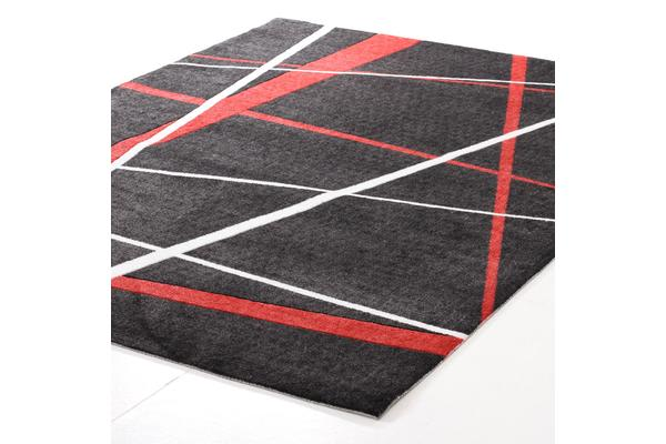 Modern Lines Rug Black Red 280x190cm