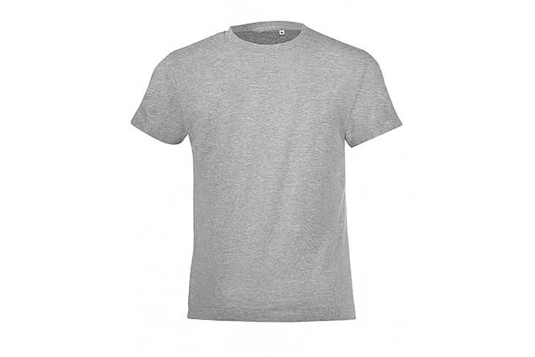 SOLS Childrens/Kids Regent Short Sleeve Fitted T-Shirt (Grey Marl) (6 Years)