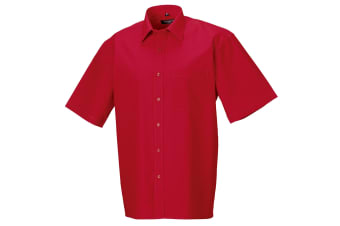 Russell Collection Mens Short Sleeve Pure Cotton Easy Care Poplin Shirt (Classic Red) (L)