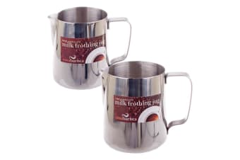 2pc Casa Barista 600ml & 900ml Stainless Steel Milk Coffee Latte Frothing Jug