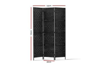 Artiss 3 Panel Room Divider Privacy Screen Rattan Frame Stand Fold Woven Black