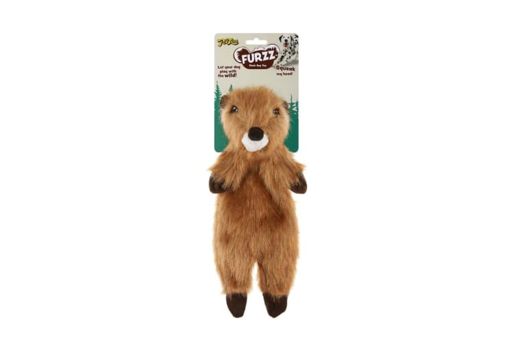 Interpet Limited Petlove Furzz Plus Beaver Dog Toy (Beige/Brown/White) (Small)